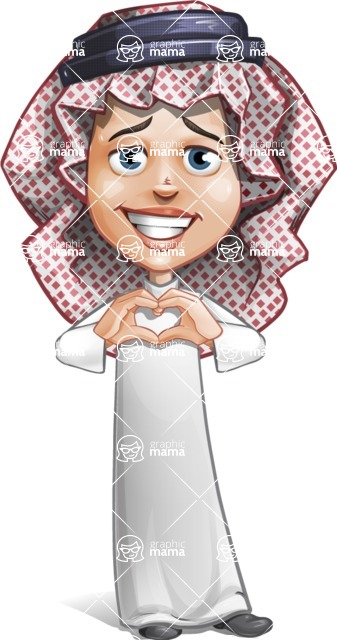 Cute Muslim Kid Cartoon Vector Character AKA Ayman - Show Love