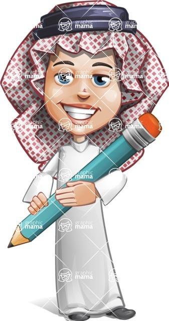 Cute Muslim Kid Cartoon Vector Character AKA Ayman - Pencil