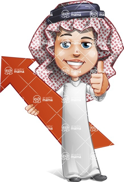 Cute Muslim Kid Cartoon Vector Character AKA Ayman - Arrow 1