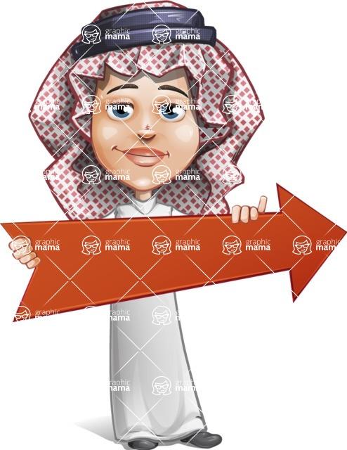 Cute Muslim Kid Cartoon Vector Character AKA Ayman - Arrow 2