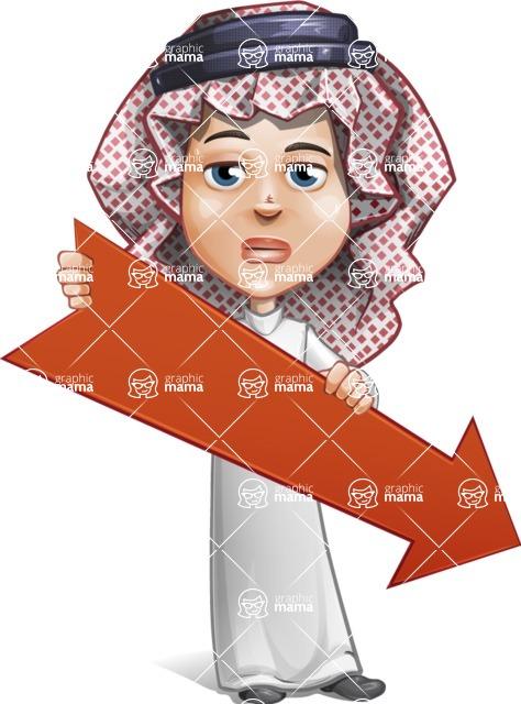 Cute Muslim Kid Cartoon Vector Character AKA Ayman - Arrow 3