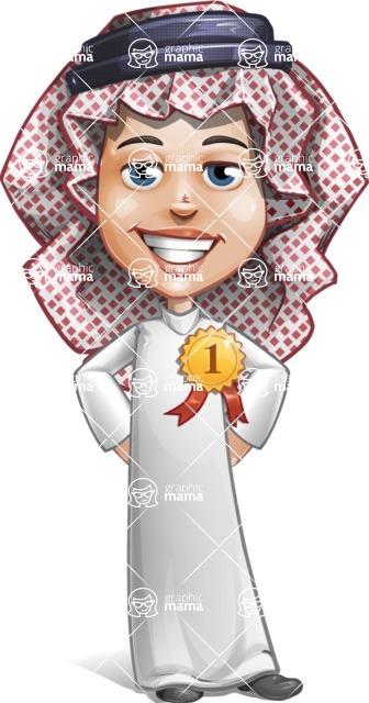Cute Muslim Kid Cartoon Vector Character AKA Ayman - Badge