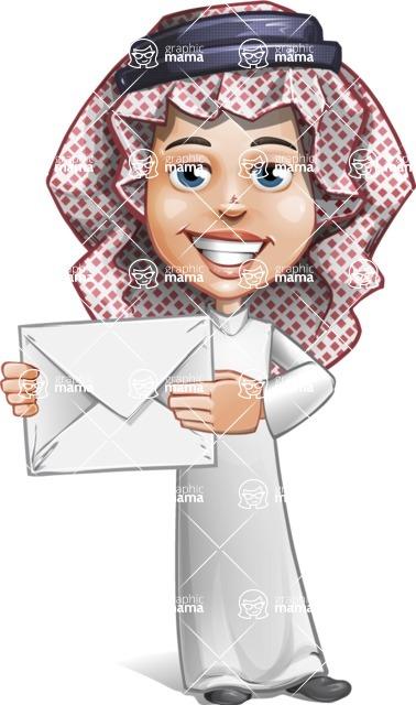 Cute Muslim Kid Cartoon Vector Character AKA Ayman - Letter