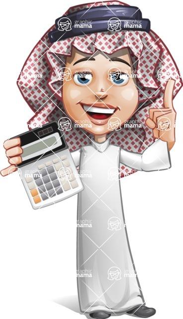Cute Muslim Kid Cartoon Vector Character AKA Ayman - Calculate