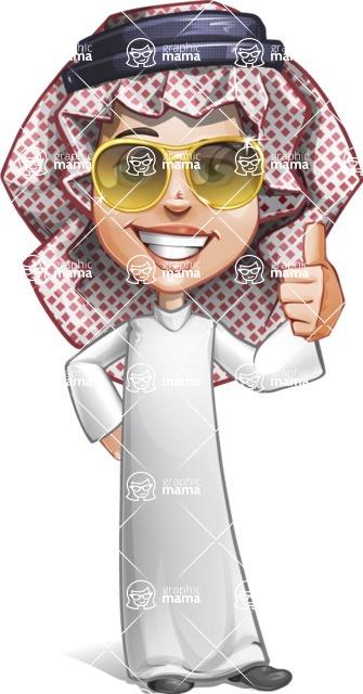 Cute Muslim Kid Cartoon Vector Character AKA Ayman - Sunglasses