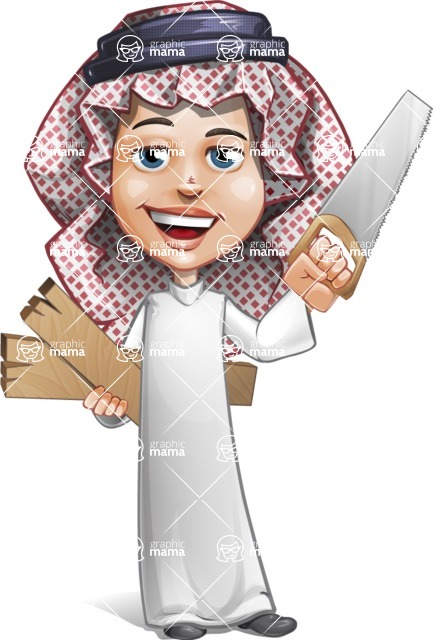 Cute Muslim Kid Cartoon Vector Character AKA Ayman - Under Construction