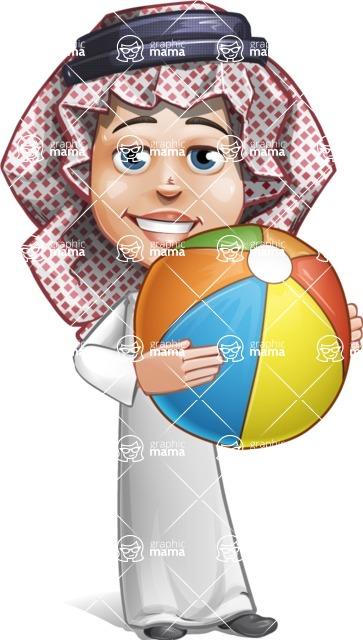 Cute Muslim Kid Cartoon Vector Character AKA Ayman - Beach Ball