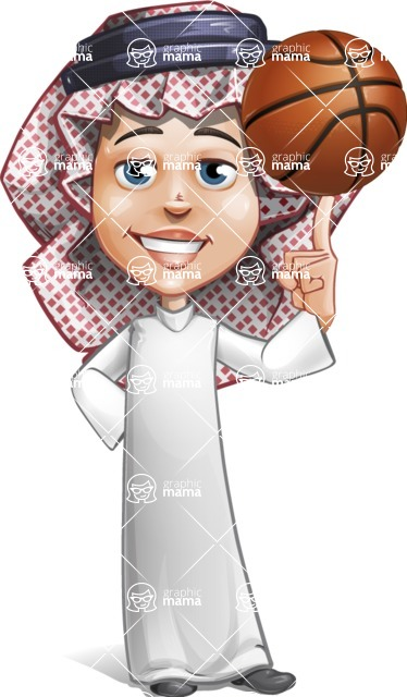 Cute Muslim Kid Cartoon Vector Character AKA Ayman - Basket Ball