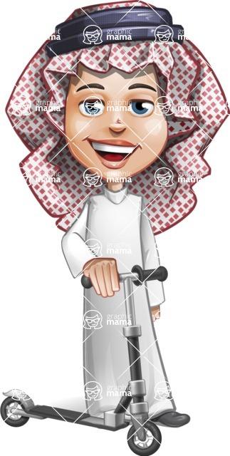 Cute Muslim Kid Cartoon Vector Character AKA Ayman - Trike