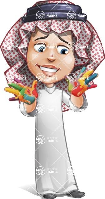 Cute Muslim Kid Cartoon Vector Character AKA Ayman - Color Hands