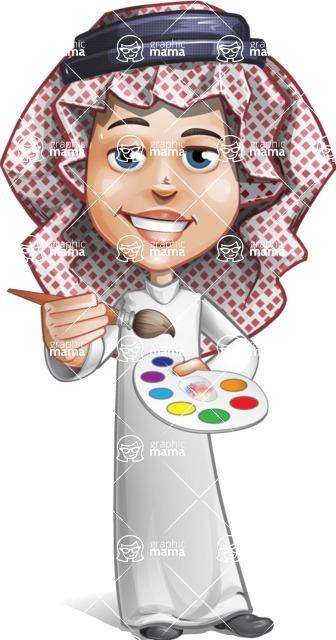 Cute Muslim Kid Cartoon Vector Character AKA Ayman - Paint