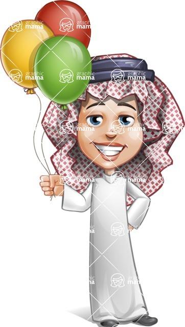 Cute Muslim Kid Cartoon Vector Character AKA Ayman - Baloons