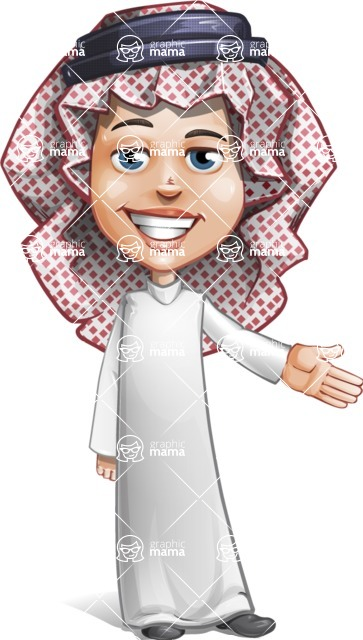Cute Muslim Kid Cartoon Vector Character AKA Ayman - Show