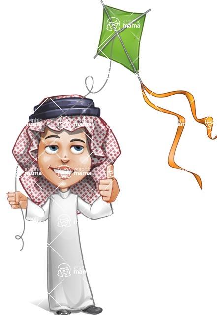 Cute Muslim Kid Cartoon Vector Character AKA Ayman - Wind Toy