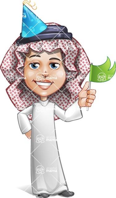 Cute Muslim Kid Cartoon Vector Character AKA Ayman - Party 1
