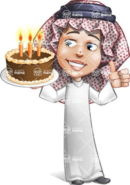 Cute Muslim Kid Cartoon Vector Character AKA Ayman - Party 2