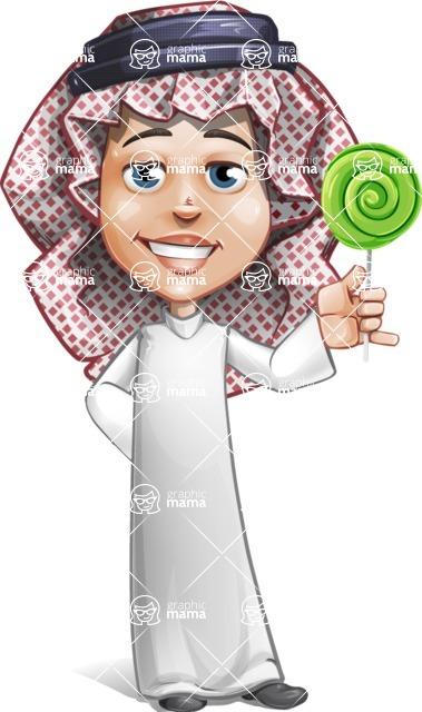 Cute Muslim Kid Cartoon Vector Character AKA Ayman - Candy