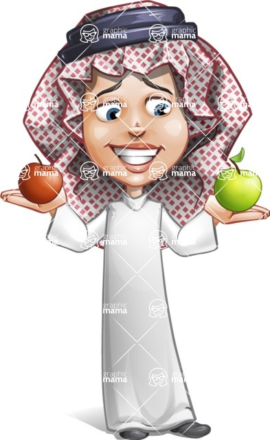 Cute Muslim Kid Cartoon Vector Character AKA Ayman - Apples