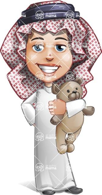Cute Muslim Kid Cartoon Vector Character AKA Ayman - Tedy Bear