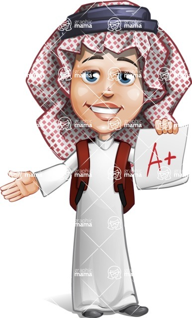 Cute Muslim Kid Cartoon Vector Character AKA Ayman - School 1