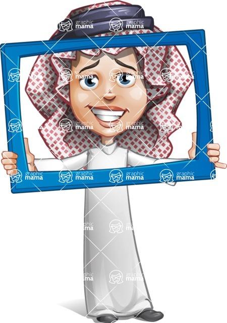 Cute Muslim Kid Cartoon Vector Character AKA Ayman - Frame