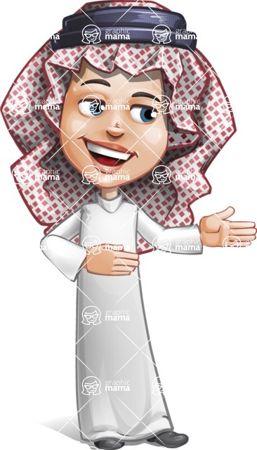 Cute Muslim Kid Cartoon Vector Character AKA Ayman - Show 2
