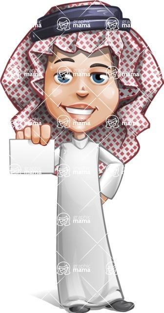 Cute Muslim Kid Cartoon Vector Character AKA Ayman - Sign 1