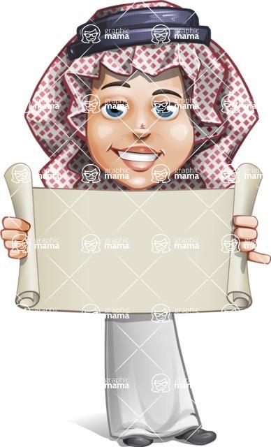 Cute Muslim Kid Cartoon Vector Character AKA Ayman - Sign 2