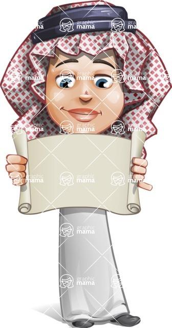 Cute Muslim Kid Cartoon Vector Character AKA Ayman - Sign 3