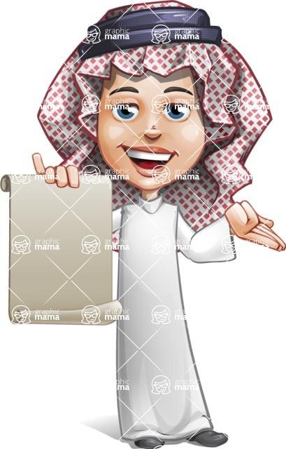 Cute Muslim Kid Cartoon Vector Character AKA Ayman - Sign 4