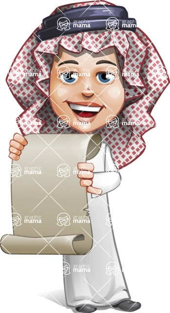 Cute Muslim Kid Cartoon Vector Character AKA Ayman - Sign 5