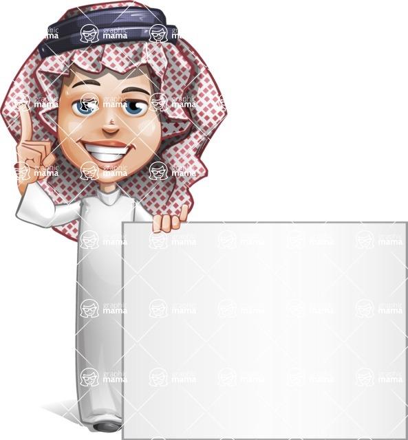 Cute Muslim Kid Cartoon Vector Character AKA Ayman - Sign 6