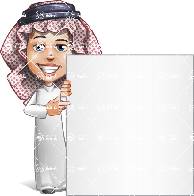 Cute Muslim Kid Cartoon Vector Character AKA Ayman - Sign 7