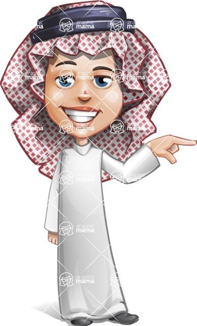 Cute Muslim Kid Cartoon Vector Character AKA Ayman - Point