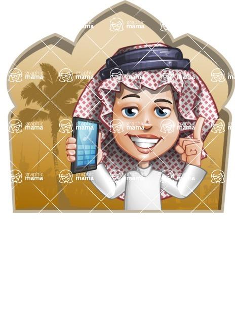 Cute Muslim Kid Cartoon Vector Character AKA Ayman - Shape 2