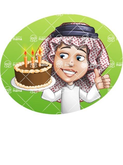 Cute Muslim Kid Cartoon Vector Character AKA Ayman - Shape 3