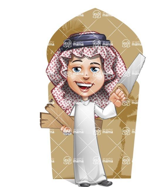 Cute Muslim Kid Cartoon Vector Character AKA Ayman - Shape 6