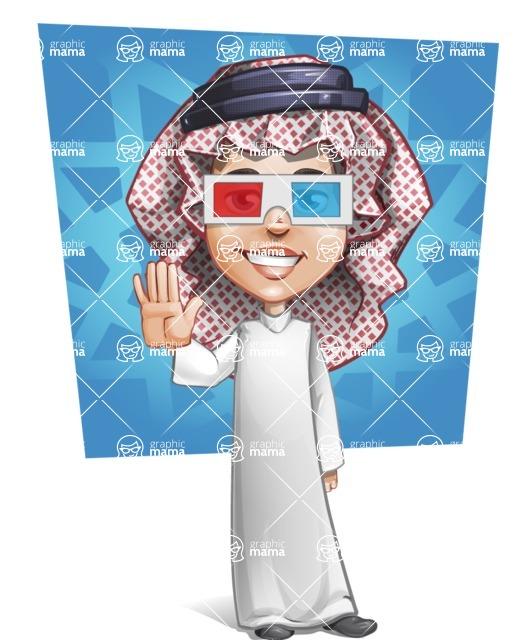 Cute Muslim Kid Cartoon Vector Character AKA Ayman - Shape 7