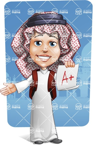 Cute Muslim Kid Cartoon Vector Character AKA Ayman - Shape 9