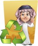 Cute Muslim Kid Cartoon Vector Character AKA Ayman - Shape 10