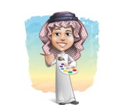 Cute Muslim Kid Cartoon Vector Character AKA Ayman - Shape 12