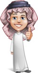 Cute Muslim Kid Cartoon Vector Character AKA Ayman - Thumbs Up
