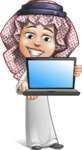 Cute Muslim Kid Cartoon Vector Character AKA Ayman - Laptop 1