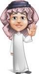 Cute Muslim Kid Cartoon Vector Character AKA Ayman - Wave