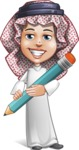 Cute Muslim Kid Cartoon Vector Character AKA Ayman - Pencil