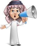 Cute Muslim Kid Cartoon Vector Character AKA Ayman - Loudspeaker