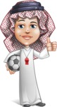 Cute Muslim Kid Cartoon Vector Character AKA Ayman - Soccer