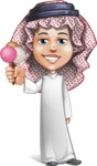 Cute Muslim Kid Cartoon Vector Character AKA Ayman - Ice Cream