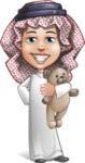 Cute Muslim Kid Cartoon Vector Character AKA Ayman - Tedy Bear