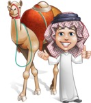 Cute Muslim Kid Cartoon Vector Character AKA Ayman - Camel